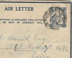 PALESTINE Rare Aerogramme Value 25 Mils Send Jerusalem to Cairo 1946
