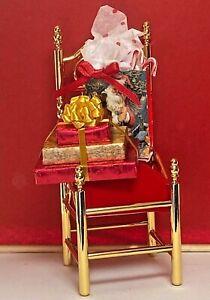 Vintage Christmas Decorated Brass Velvet Chair & Gifts 1:12 Dollhouse Handmade
