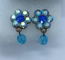 Vintage Stunning Blue Aurora Borealis Crystal Flower Stud Earrings