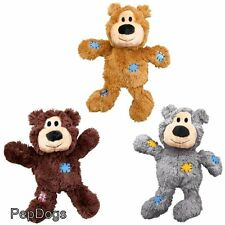 KONG Wild Knots Teddy Bear Squeaker Dog Toy Squeaky with Internal Knotted Rope