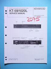 Instrucciones Manual de servicio para Kenwood kt-59/kt-1020l, original