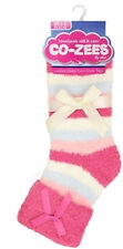 Ladies Co--Zees Fluffy Spots & Stripes Soft Cosy Turn Over Top Bed Sleep Socks