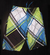 Protest Board Shorts Size 7 164cm Multicolor Plaid Swim Trunks Elastic Tie Band