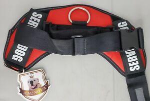 Adjustable Service Dog Harness Reflective Large Red