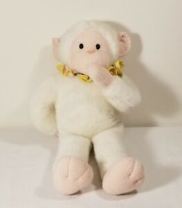 VTG HTF Hallmark Baby Monkey Plush White Stuffed Animal Ruffle Collar 1993
