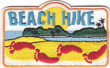 """BEACH HIKE"" PATCH - SPORTS - HIKING - OUTDOORS -IRON ON EMBROIDERED APPLIQUE"