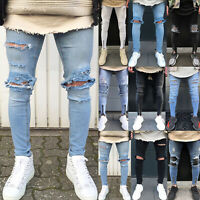 Mens Distressed Ripped Jeans Stretch Slim Fit Skinny Casual Denim Pants Trousers