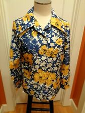 Vintage Wide Collar Floral Ladies Kitchy Cool Original Retro Button Up Shirt