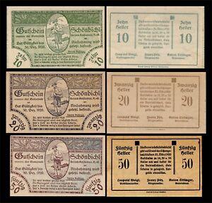 1920 AUSTRIA (SCHONBICHL) 3 'NOTGELD' BANKNOTE SET