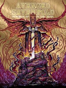Avenged Sevenfold The Joint 4/18/09 Concert Poster Gold Foil Screen Print