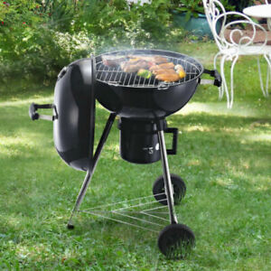 Charcoal BBQ Portable Barbecue Grill Foldable Outdoor with Smoker and Shelfs