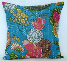 "16"" Turquoise Cotton Cushion Cover Indian Handmade Kantha Throw Pillow Decor"