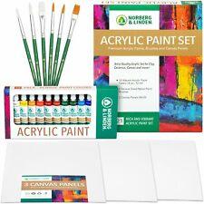 Acrylic Paint Set -12 Acrylic Paints, 6 Paint Brushes - 3 Painting Canvas Panel