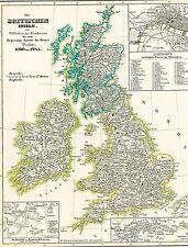 Genuine 172 Years Old Map England Wales until 1485 + UK Ireland 1846