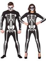 Adult Mens Ladies Skeleton Costume Jumpsuit Scary Smiffys Halloween Fancy Dress