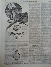 1928 Vintage Ingersoll Yankee Radiolite Watch Fisherman Fishing Creel Ad