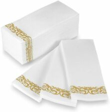 Stock Your Home Disposable Napkins Vine Pattern - 100 Count - Gold