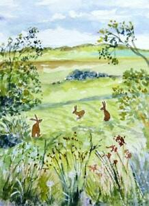 ORIGINAL Watercolour Painting: ANIMALS/LANDSCAPE: HARES IN THE SUMMER MEADOW