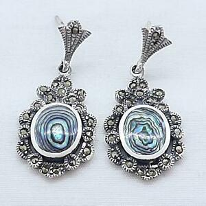 Vintage 6.50ctw Mother of Pearl & Marcasite 925 Sterling Silver Earrings 6.6g