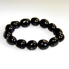 Jet Bracelet Tumbled Stone Stretchy Jet Bracelet Chakra Energy Jewelry Gift Heal