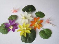 4 miniature Lotus Nénuphar fleur +6 feuilles Dollhouse Jardin promotion #16