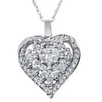1 1/4ct Heart Shape Marquise Diamond Pendant 14K White Gold