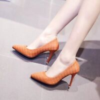 Womens Slim High Heels Slip On Pumps Pointed Toe Solid Party Work Office Shoes