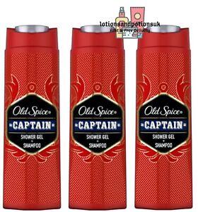 Old Spice CAPTAIN Shower Gel & Shampoo 400ml - 3 Pack LARGE BOTTLES