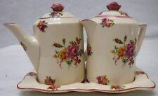 SOHO POTTERY  Spring Bouquet  5pc INDIVIDUAL Teapot, Coffee Pot, & Tray Set