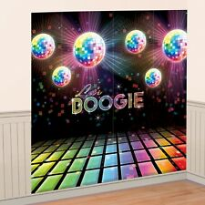 DISCO FEVER Let's Boogie Wall Decoration scene setter Kit 2pcs 82.5x165cm
