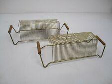 Pair 2 Vtg Mcm Gold Metal Wire Vinyl Record Lp Display Stand Rack 40 Slots D