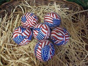 6 American Flag Patriotic Rag Balls, Farmhouse Tiered Tray Decor, Fillers New