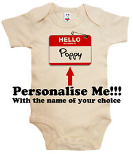 """Personalised Dirty Fingers Bodysuit """"Hello My Name is"""" Add Your Child's Name"""