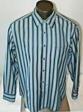 Tommy Bahama Casual Dress Shirt Button Up Long Sleeve Blue Stripe Silk Mens Sz L