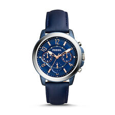 Women's Fossil Gwynn Blue Leather Strap Chronograph Watch ES4131 NEW NWT