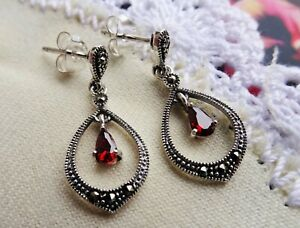 My S Collection 925 Sterling Silver, Marcasite & Red CubicZirconia Drop Earrings