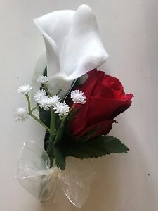 Calla lily and red rose buttonhole