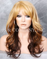 Blonde Brown mix HEAT SAFE Wavy Light Weight Wig Bangs Layered NGBY 234
