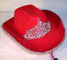 new RED VELVET COWBOY HAT W TIARA western headwear hats ladies cap womens wear