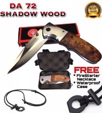 .BOKER DA72 Shadow Wood Hunting Knife +FireStarter Necklace & Waterproof Case