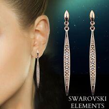 boucles d'oreilles pendantes luxe ornées Swarovski® Elements plaqué or mariage