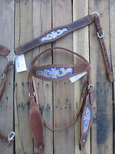 WESTERN HEADSTALL BREAST COLLAR SET TURQUOISE BLUE INLAY SILVER CROSS SHOW TACK