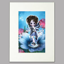 """Little Blue Flower Fairy Print women/girls home Mounted Wall Art A4 12"""" x 16"""""""