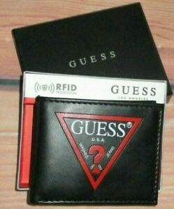MENS GUESS ICONIC LOGO BIFOLD BLACK WALLET WITH ORIGINAL GIFT BOX