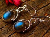 Gorgeous 925 Sterling Silver Earrings, Artisan Solid Silver Labradorite  Earring