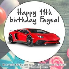 Personalised SPORTS CAR Birthday Party sweet cone gift bag sticker label seal