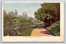 Vintage Postcard California Fruit Products Advertising Card Park Scene a3