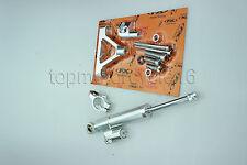 FXCNC Steering Damper Stabilizer Bracket Kit Set For KAWASAKI ZX10R 04-05 Silver