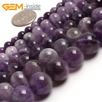 Natural Gemstone Purple Dream Lace Amethyst Round Beads For Jewellery Making UK