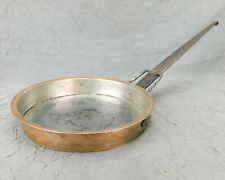 "Hand Hammered Copper 14"" Skillet Tin Lined Forged Iron Handle Clean Antique Used"